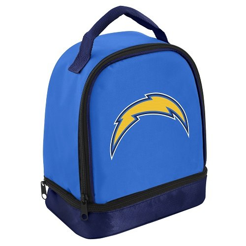 FOCO NFL San Diego Chargers Double Compartment Lunch Cooler, Blue