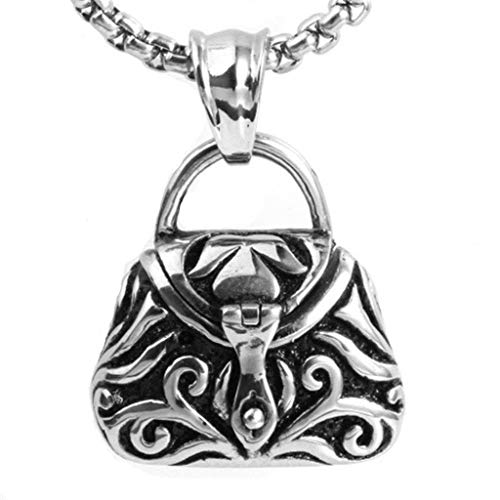 Aokarry Jewelry Men Stainless Steel Necklace Pendant Necklace Wallet Silver 31 MM