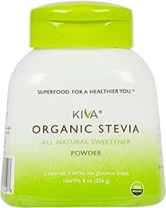 Kiva Organic Stevia Powder (Natural Sweetener) - Non-GMO, Vegan, Zero-Calories- (Sugar Free, NO AFTERTASTE and GROWN IN USA), 8-Ounce