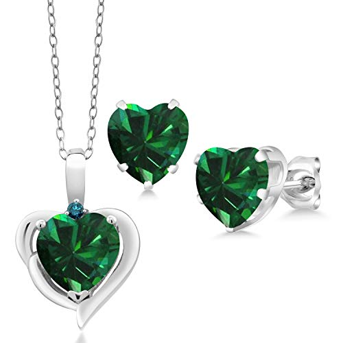 Gem Stone King 925 Silver 2.42 Ct Heart Simulated Emerald Blue Diamond Pendant Earrings Set (Simulated Blue Diamond Earrings)