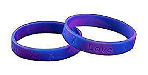 Pediatric Silicone - Juvenile Arthritis (JRA)/Pediatric Stroke Awareness Blue and Purple Silicone Bracelets (3 pack)
