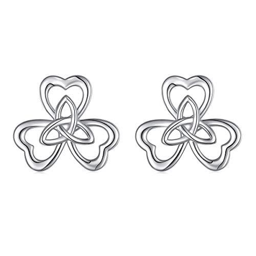 Ladytree 925 Sterling Silver Celtic Knot Three Hearts Flower Ear Jacket Earrings Back Ear Cuffs Chic Stud Earring