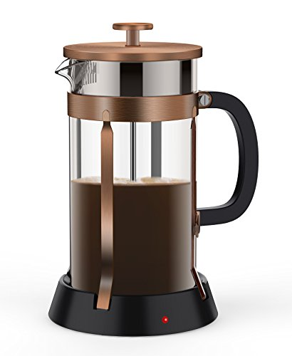 Lowest Prices! BREVO 8 Cup French Press Coffee Tea Maker with 35W Electric Warmer (Bronze Pot)