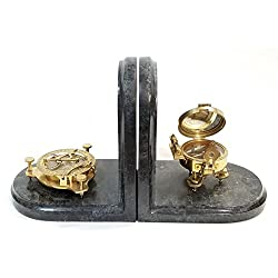 Decorative Brass Compass Bookends on a Green Stone Inlay Base