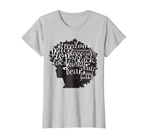 Womens Words in Big Afro - Natural Hair T Shirt for Black Women