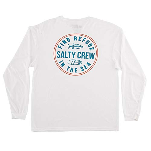 (Salty Crew Men's Twin Fin Long Sleeve Tech Tee, White (White/WHT), XX-Large)