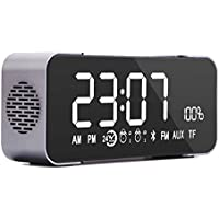 COOFUN Wireless Bluetooth Stereo Speaker FM Clock Radio with Large LED Display, Built-in Mic, 5WX2 Drivers for Enjoying Music Whenever Inside, Outside, Driving etc. (Grey)