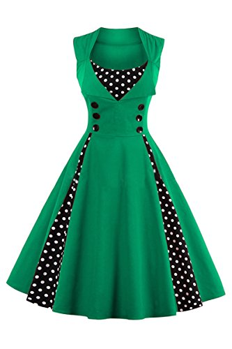 YMING Women's Retro Vintage Style Polka Dot Cocktail Party Swing Dress Green - Mall Empire Hours