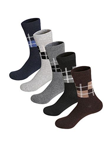 uxcell Men 5 Pack Plaids Pattern Thermal Crew Socks 10-12 (Acrylic Spandex Plaid Pattern)