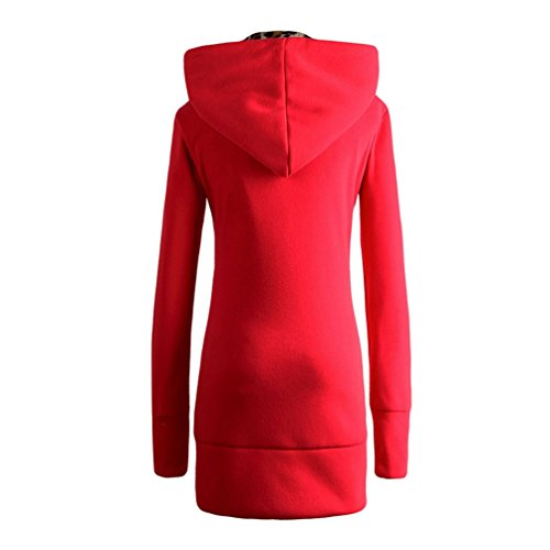 con Coat Jitong Abrigos Larga Capucha Sudaderas Outwear Manga Leopardo Mujer Rojo Chaquetas pqxqaEr1z