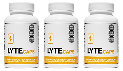 Electrolyte Replacement Tablets for Serious Rehydration by LyteCaps | Avoid Cramps & Dehydration | Magnesium, Potassium, Sodium & Zinc | 60 Capsules (3 Bottles)