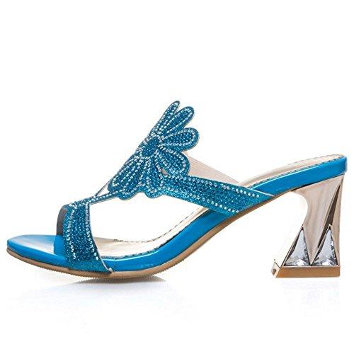 Tacon On blue 3 Sandalias Slip Melady Moda Anchos Mules Mujer qwRz0nCxE