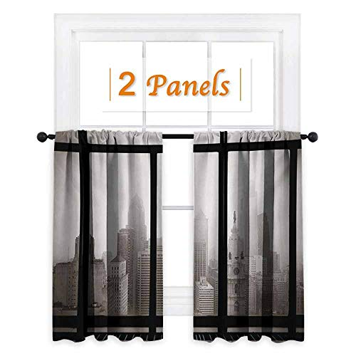 City Thermal Insulating Blackout Curtain Philadelphia City Rooftop View Through Window Skyline Landmark Rooftop Travel Blackout Draperies for Bedroom W52 x L63 Inch Dimgray and Black