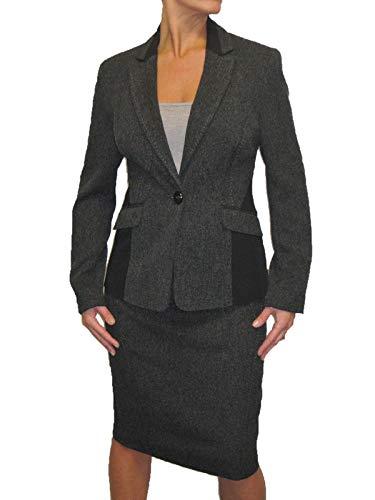(icecoolfashion Business Tweed Jacket Skirt Suit Lined Washable Grey Black Size 8)