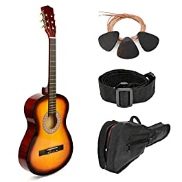 38″ Wood Guitar With Case and Accessories for Kids/Boys/Girls/Teens/Beginners (38″, Sunburst)