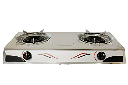 Bioexcel Double Burner Stainless Steel Cooktop Dual Gas Stove Burner Portable Buffet Range Comes With Auto Strike - Perfect for Kitchen and Camping - Double Buffet Range