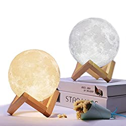 Mydethun Moon Lamp Moon Light Night Light for Kids Gift for Women USB Charging and Touch Control Brightness Two Tone Warm and Cool White Lunar Lamp