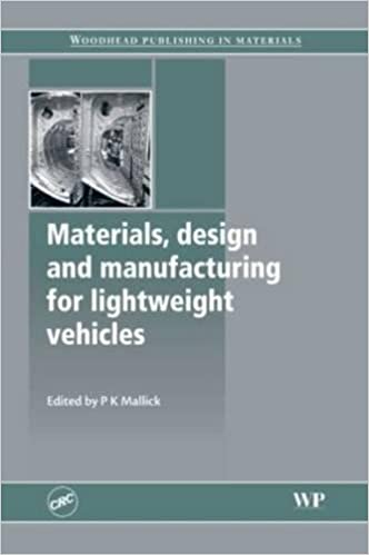 Amazon Com Materials Design And Manufacturing For Lightweight Vehicles Woodhead Publishing In Materials 9781439829721 Mallick P K Books