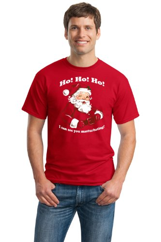 HO HO HO, I CAN SEE YOU MASTURBATING Unisex T-shirt / Funny Santa Christmas Tee