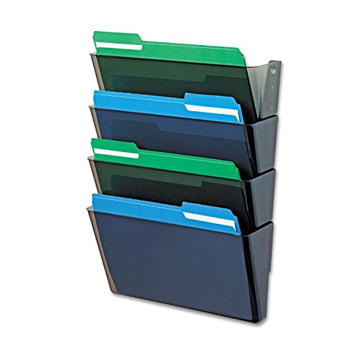 Deflecto 73402 DocuPocket Four-Pocket Wall Set, Plastic, Letter, 13 x 4 x 7, Smoke -
