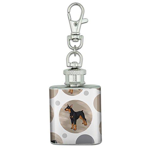 Stainless Steel 1oz Mini Flask Key Chain - Dog Puppy Doberman Pinscher
