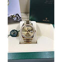 Rolex Men's 40mm President Model 228348 18k Yellow Gold Presidential New Style Heavy Band Champagne Dial with 10 Baguette Diamond Markers & Factory Rolex Diamond Bezel