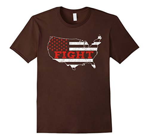 Mens AIDS Awareness Tshirt Fight Red Flag Support Medium Brown