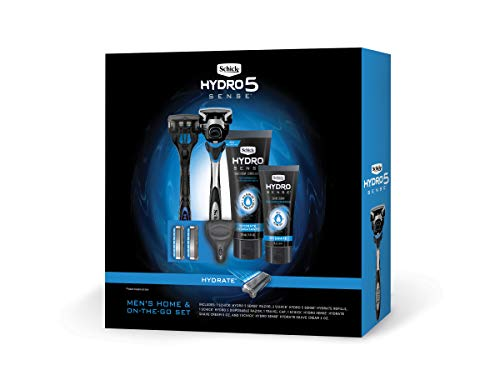 Schick Hydro Sense Razors for Men Gift Set with 1 Hydro Sense Hydrate Razor, 1 Hydro Sense Hydrate Disposable Razor, 3 Hydro Sense Hydrate Refills, 1-6oz & 2oz Hydro Sense Hydrate Shave Cream