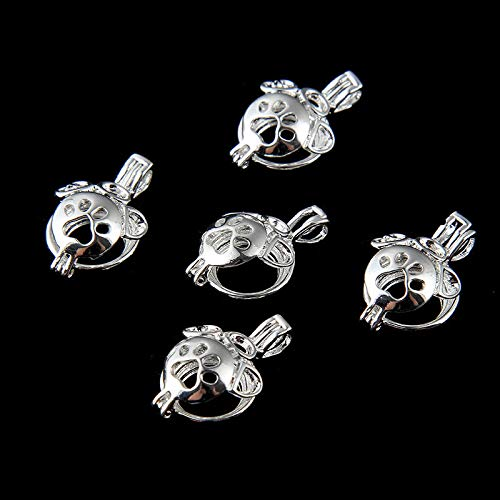 Silver Plated Dog Paw Pearl Cage Locket Pendant DIY Jewelry Making Craft 5Pcs