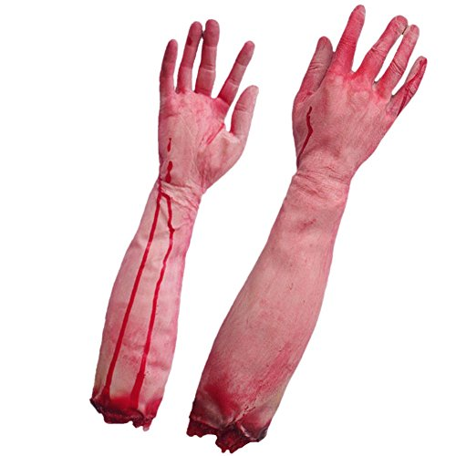 LETSQK Fake Severed Hands Feet Arm Legs Bloody Broken Body Parts Halloween Props (Clearance Halloween Costumes Under $20)