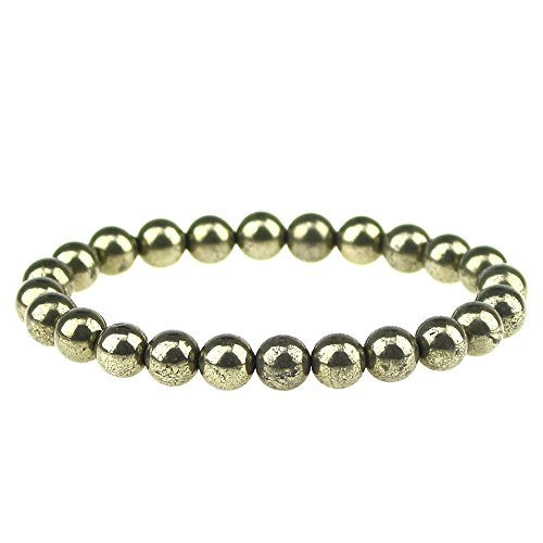Pyrite Beads - CLEARAIN Beautiful Energy Power Crystal 8mm Chakra Beads Reiki Healing Elastic Stretch Bracelet Pyrite