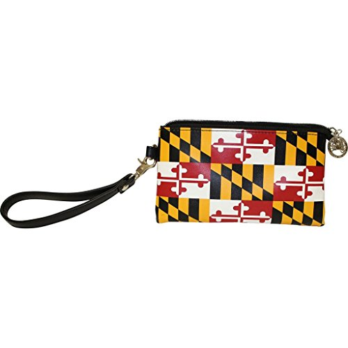 Route One Apparel | Maryland State Flag, Vegan Leather Clutch with Removable Wristlet Strap for Women (Small -