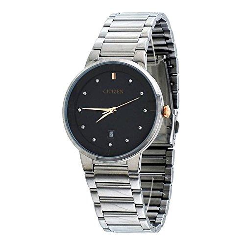 Citizen Black Dial Stainless Steel Quartz Analog Men's Watch CZ BI5014-58E