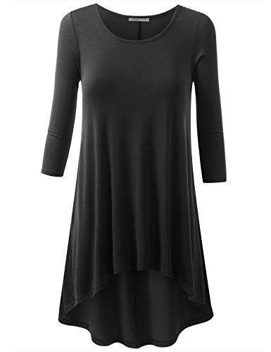 URBANCLEO Womens Basic Elong Hi-Lo Tunic Top T-Shirt Dress (Plus