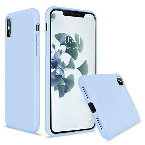 - Vooii iPhone Xs Case, iPhone X Case, Soft Liquid Silicone Slim Rubber Full Body Protective iPhone Xs/X Case Cover (with Soft Microfiber Lining) Design for iPhone X iPhone Xs - Light Blue