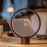 Magnetic Lamp, Creative Smart Balance Lighting Lights LED Round Desk Lamp Levitating Magic Floating Balls Switch USB Powered Lamps Decoration for Bedroom, Bedside, Home, Office (Dark Wood)