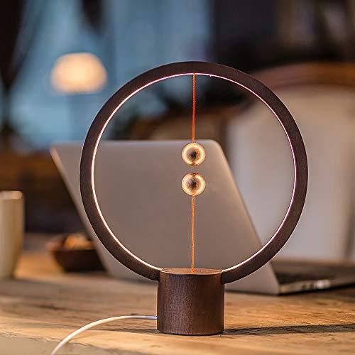 Dinner Balance (Magnetic Lamp, Creative Smart Balance Lighting Lights LED Round Desk Lamp Levitating Magic Floating Balls Switch USB Powered Lamps Decoration for Bedroom, Bedside, Home, Office (Dark Wood))