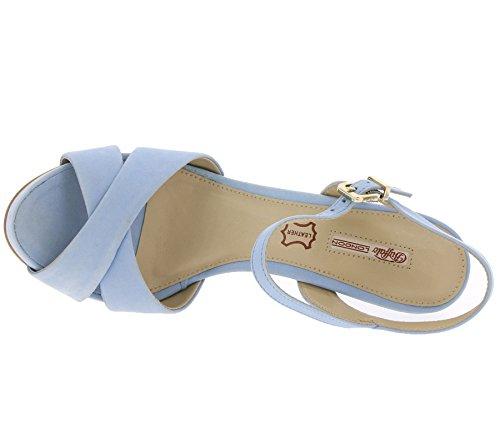 115985 Schwarz Buffalo Damen Sandaletten Leder Beige Sandalen Blau N80myOPwvn