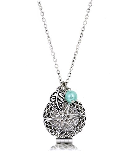 Bohemian-Necklace-Antique-Silver-Essential-Oil-Diffuser-Aromatherapy-WLeather-Pads-Adjustable
