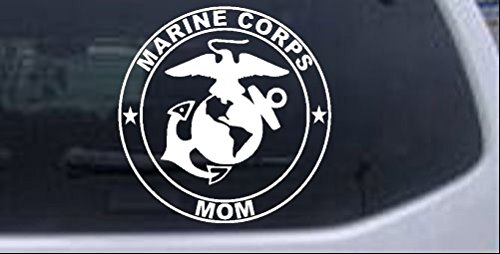 Rad Dezigns Marine Corps Mom Seal Military Car or Truck Window Laptop Decal Sticker - White 6in X 6in