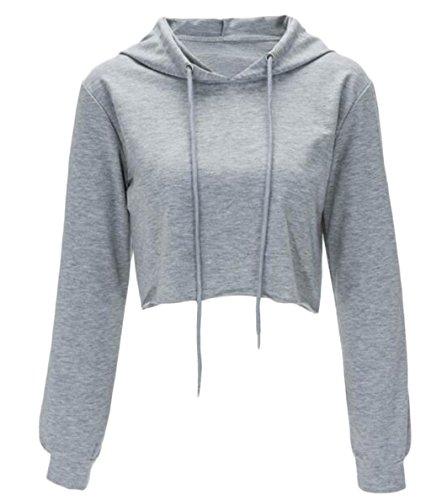 Women Long Sleeve Pullover Hooded Sweatshirt Casual Loose Crop Top Shirt size S (Gray) ()