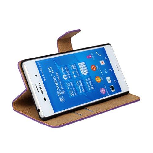Trumpshop Smartphone Carcasa Funda Protección para Sony Xperia Z3 + (Plus) + Rojo + Ultra Delgada Cuero Genuino Caja Protector con Función de Soporte Ranuras para Tarjetas Crédito Choque Absorción Verde
