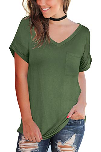 Womens Tops Short Sleeve Cotton Tees Casual V Neck T Shirts Plus Size Army Green XXL