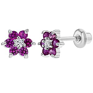 Rhodium Plated Small 5mm Girls Crystal Flower CZ Safety Screw Back Earrings for Toddlers & Kids
