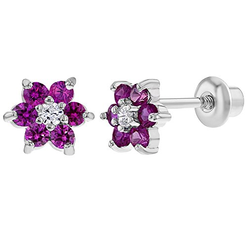 Rhodium Plated Flower Fuchsia Pink Crystals Screw Back Earrings for Babies Kids ()