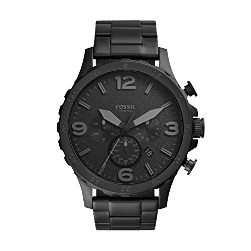 Fossil Men's Nate Quartz Stainless Steel Chronograph Watch, Color: Black (Model: JR1401)