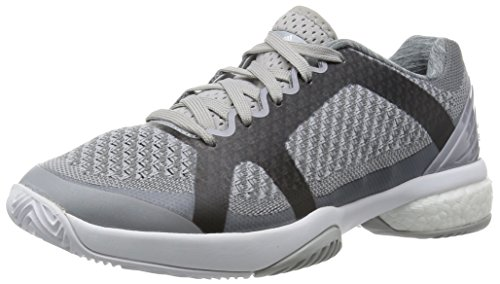 Adidas AF6163 Women's Stella Barricade Boost Tennis Shoes, Mystery Grey/Universe/White, 8 M US