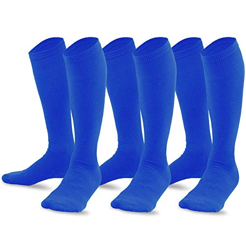 (TeeHee Bamboo All Sports Half Cushion Socks with Arch Support 3-Pairs Pack (Youth (5-7), Royal Blue))