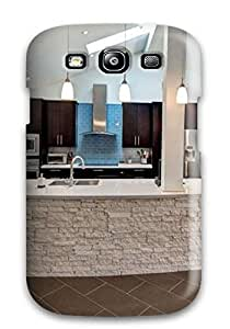 Hot Tpye Modern Kitchen With Large Stone Island Amp Brown Cabinets Case Cover For Galaxy S3