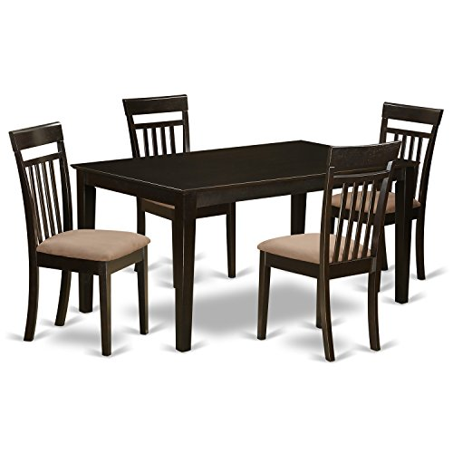 East West Furniture CAP5S-CAP-C 5 PC Formal Dining Room Set – Dining Table Top and 4 Dining Chairs